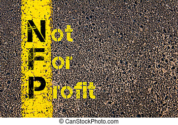Business Acronym NFP as Not For Profit