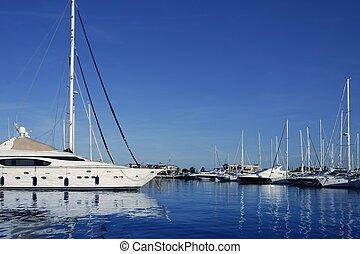 Blue marina view saltwater vacation dock in Mediterranean...