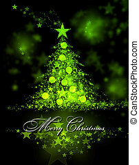 Merry Christmas. Green background with a christmas tree and...