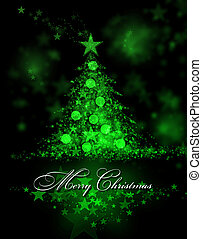Merry Christmas. Green background with a christmas tree and Merry Christmas Text
