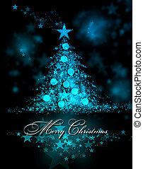 Merry Christmas. Blue background with a christmas tree and...