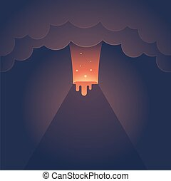 Erupting volcano illustration. Spectacular night eruption...