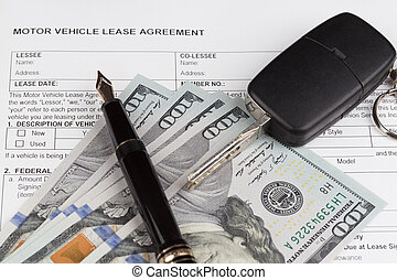 Lease motor vehicle Document Agreement with car key