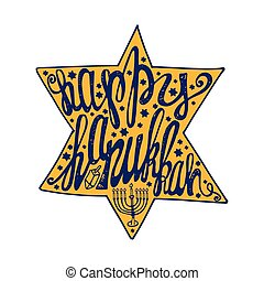 Happy Hanukkah lettering in David Star shapeColored - Happy...