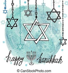Happy Hanukkah David StarWatercolor splash - Happy Hanukkah...