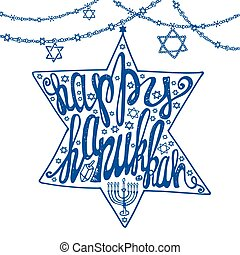 Happy Hanukkah letteringDavid Star shapeBlue - Happy...