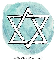 Star of David,Watercolor circle splashIsrael symbol - Star...