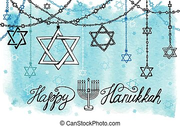 Happy Hanukkah.David Star garlands.Watercolor splash - Happy...