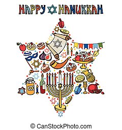 Hanukkah greeting card.Israel symbols in David Star.Doodles...