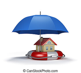 Property insurance - House on lifebuoy, the concept of...