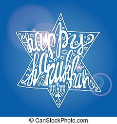Happy Hanukkah lettering in sparkling David Star - Happy...