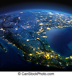 Detailed Earth. Mexico on a moonlit night