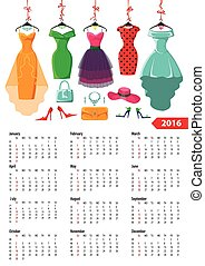 Calendar 2016 yearColored summer dresses,accessories -...