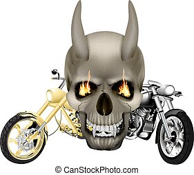 vampire skull with fangs and motorbike