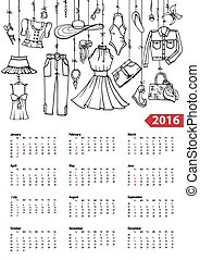 Calendar 2016 yearSummer fashion setLinear - Fashion...
