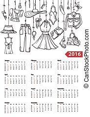 Calendar 2016 year.Summer fashion set.Linear - Fashion...