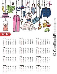 Calendar 2016 yearSummer fashion setColored - Fashion...