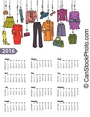 Calendar 2016 yearWoman fashion setColored - Fashion...
