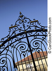 Wrought iron gate of a French mansion near Bordeaux
