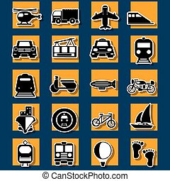 Type of transportation and travel sticker icons shadow on...