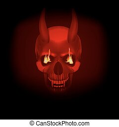skull vampire with fangs flames