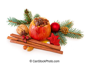 Baked apple with Christmas decoration isolated - Cinnamon...