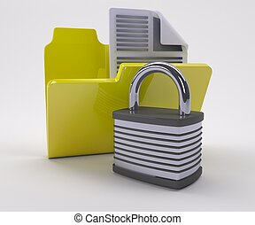 Document Security Icon - 3D Render of Document Security Icon