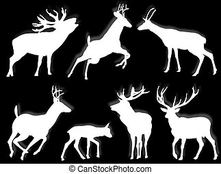 Buck silhouettes - Buch silhouettes in different poses and...