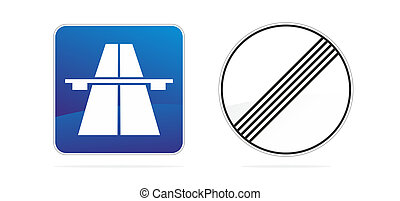 two traffic sign - set with two symbols for german autobahn