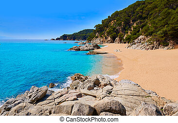 Cala Sa Boadella platja beach in Lloret de Mar of Costa...