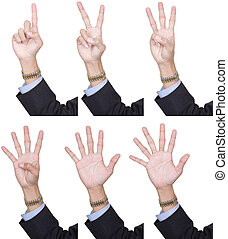 Collection counting fingers 1 to 6 - Collection of 6...