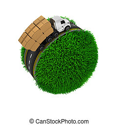 Road around a grassy globe - 3D Render of Road around a...