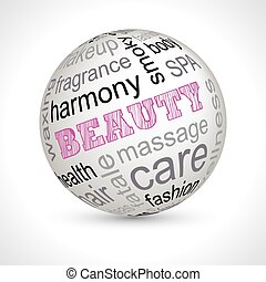 Beauty theme sphere with keywords full vector