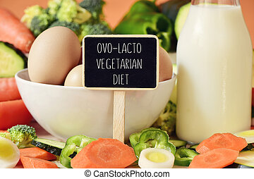 eggs, milk, vegetables and text ovo-lacto vegetarian diet -...