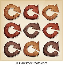 Wooden Refresh Arrows Icons For Ui Game - Illustration of a...