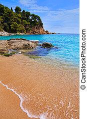 Cala Sa Boadella platja beach in Lloret de Mar of Costa...