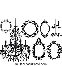 picture frames and chandelier - antique picture frames and...