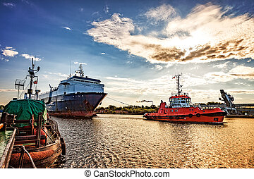 Ship in port - Ro-ro ship entering to port of Gdansk,...