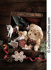 vintage christmas toys in old treasure chest - vintage...