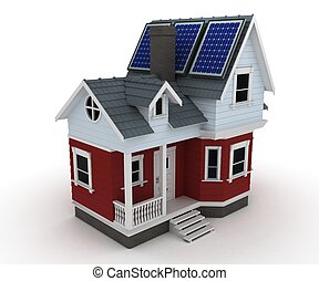 Solar panels on a house