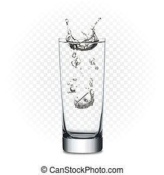 Vector tablet in glass with water - Realistic glass of water...