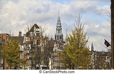 Church tower in Amsterdam, Holland