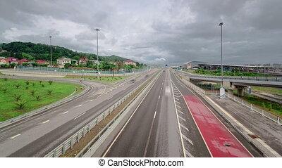 Traffic on Road M-27 timelapse Sochi Adler, Russia - Traffic...