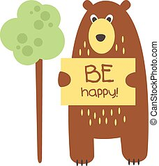 Cute bear with a sign for text, vector illustration