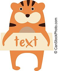 Cute tiger with a sign for text