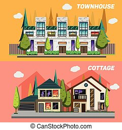Street with townhouses and country houses. Set of elements for the construction urban landscapes. Vector flat design illustration