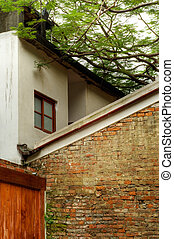 Abstract building structure of old wall and house.
