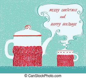 Christmas greeting card with cup tea and kettle background -...