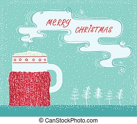 Christmas greeting card with knitted cup holder and coffee