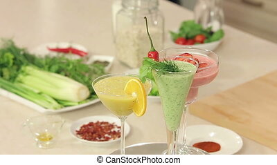 Presentation of Strawberry, Green Vegetables and Citrus...
